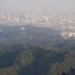 展望塔から都会を眺める