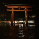 夜間の厳島神社 大鳥居観光、参拝遊覧船に乗り込む