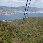 弥山頂上から獅子岩駅を経由して宮島へロープウェーで下山