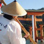 宮島ろかい舟、海から厳島神社 大鳥居に大接近