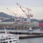 大和ミュージアム、船をつくる技術の展示、体験コーナーも多数、展望テラスから造船の町を眺める